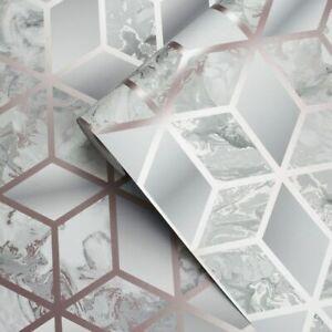 Muriva Elixir Cube 3d Effect Metallic Rose Gold Grey Marble Wallpaper 166511