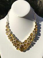 Sterling Silver Necklace Huge Lemon Quartz Artisan Handcrafted