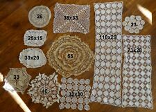 Lotto 11 pizzi merletti fatti a mano in Ecrù cotone e lino - Italia - ca. 1900
