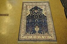 Natural Fiber Rugs Navy Blue Hand-Knotted 4' x 6' Silk Prayer Rug
