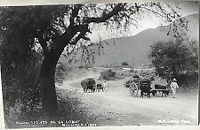 "1930's RPPC POSTCARD, Mexico Old Auto Ox Carts full of wood, ""PUNTA DE LA LOMA"""