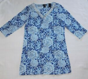 LANDS END ― S Small ― DEEP SEA AUGUSTA MUM Blue Swim/Beach Cover-Up Dress NWT