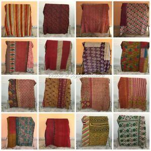 Indian Vintage Decorative Kantha Quilt Quilts Bedspreads Coverlet Blanket Throw