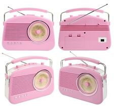 NEW PORTABLE RETRO 1960'S BUBBLEGUM PINK BATTERY & MAINS OPERATED PORTABLE RADIO
