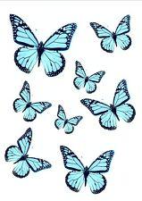 56x Papillons Bleu Aqua Mélange Tailles Déco Gateau Anniv Mariage Comestible WB4