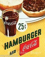 Coca Cola & Hamburger Poster Drug Store Ad Print Vintage 1940s 1950s Coke