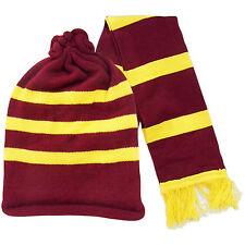 NEW MAROON YELLOW STRIPED POTTER HAT SCARF SET FANCY DRESS BOOK HARRY MOVIE