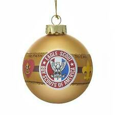 "Kurt Adler Boy Scouts Of America ""The Path To Eagle"" Gold Glass Ball Ornament w"