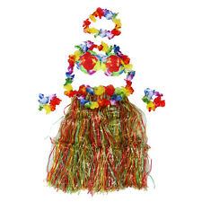 Colorful Hawaiian Tropical Theme Party Hula Luau Grass Dancer Skirt Q5O4