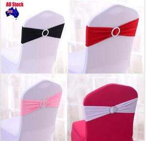 10/25/50PCS Lycra Spandex Wedding Chair Cover Bands Sashes Party Event Banquet