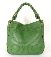 BOTTEGA VENETA Green Cervo Leather Spiral Woven Detail Large Hobo Bag