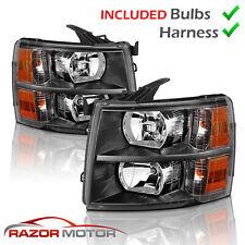 [w/ Bulbs]For 2007-2014 Black Headlight for Chevy Silverado1500 2500 3500 HD