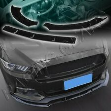 3PCS PAINTED BLACK FRONT BODY KIT BUMPER SPOILER LIP FIT 15-17 FORD MUSTANG