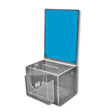 """Clear Large Suggestion Box with Pocket, Lock and Keys 9"""" W x 6.25"""" H x 6.25"""" D"""