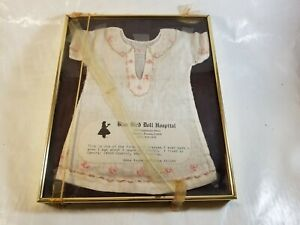 "Antique Doll Dress 1923 For Display Blue Bird Doll Hospital Framed 9"" x 11"""