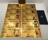 Lot 10 Billets 10000 Yen Dragon Ball Z DBZ Gold / Carte Card Or NEUF