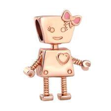 Rose Gold Fashion Pink Bowknot Bella Bot Charm Bead Fit Bracelet