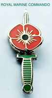 Poppy Lapel Pin Badge Royal Marine Commando Dagger Knife British Army.