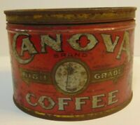 Old Vintage 1930s Canova Coffee KEYWIND COFFEE TIN ONE POUND Louisville Kentucky