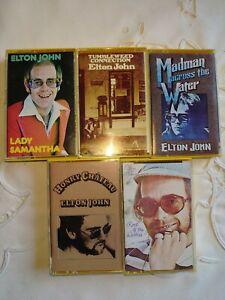 Elton John - 5 Rare Vintage Cassettes - Honky, Madman, Tumbleweed, Rock - 1970s