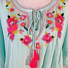 Monsoon Accessorize boho floral shirt/dress sz14/16 summer holiday beach kaftan