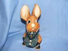 Pendelfin Stoneware Rabbit Uncle Soames Blue And Turquoise Burnley England
