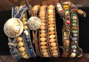 Unisex Leather Wrap Glass Crystal Beaded Bracelet Buffalo Indian Boho Travel Art