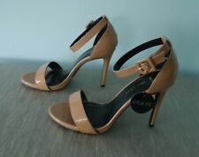 New Look Wide Barely There Latte Beige Patent Strappy Heels Sandals - size 6