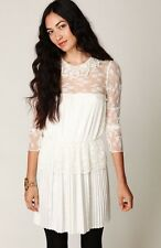 FREE PEOPLE 8 Wedding Dress Young Victorian Lace Pleats Ruffles Buttons 8 NWT