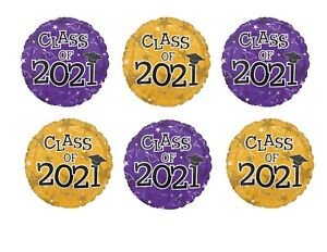 Set of 6 Purple & Gold Round Graduation Class of 2021 Party balloons decorations