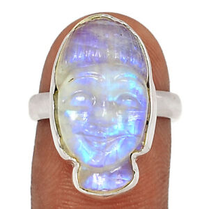 Buddha Face Carved - Moonstone - India 925 Silver Ring Jewelry s.7 BR84332