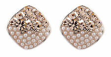Clip On Earrings - rose gold plated earring with gold crystals & pearls - Emma G