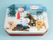 RUSSELL STOVER Chocolates Tin Snowman Sleigh and Cute Puppies ca. 2012