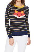 YEMAK Women's Fox Face Print Striped Pattern Long Sleeve Pullover Sweater MK3279