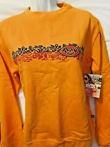 Vintage NWT Roxy Sweatshirt Front / Back  Logo Hibiscus Design  SMALL