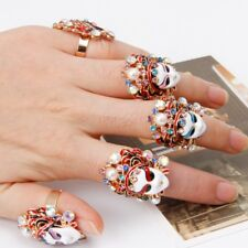Chinese Traditional Peking Opera Rhinestone Enamel Facial Mask Rings For Women