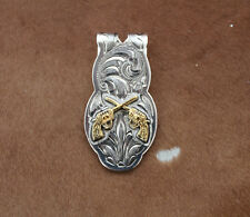 Silver Gold Money Clip Mens Western Cowboy Rodeo Guns Hunting Engraved Revolver