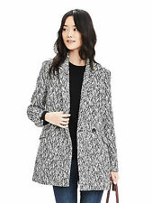 NWT Banana Republic Women's Chevron Jacquard Double-Breasted Coat Black&White S
