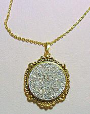 "White/silver druzy style pendant, 17.5"" gold colour chain"