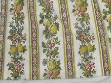 "50's Vtg Fruit Stripe Lined Cotton Pleated Drapery Panels 2 Green Gold 41"" L"