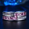 3Ct Princess Cut Pink Sapphire Diamond Wide Wedding Ring 14K White Gold Finish