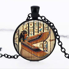 Egyptian Goddess Isis Black Glass Cabochon Necklace chain Pendant Wholesale