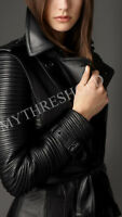 New Women Black Genuine Real Leather Trench Coat