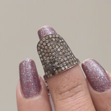 Sterling Silver Designer Ring Fine Jewelry 0.86 Ct Diamond Pave Nail Ring 925