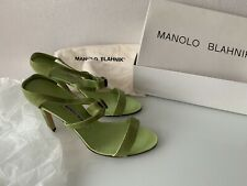 MANOLO BLAHNIK Chartreuse Green Leather Sandals Size 7 Used In Original Box