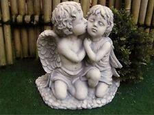 Angel Kisses Fairy Medium Sculpture Cast Stone Frost Resistant Decor Figure