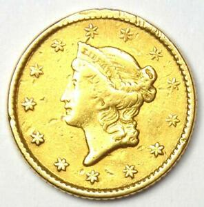 1853 Liberty Gold Dollar G$1 - AU Details - Rare Early Coin!