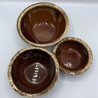 "(3) Hull Pottery Ovenproof Bowl Set 7"" 6"" 5"" Brown Drip Glaze"