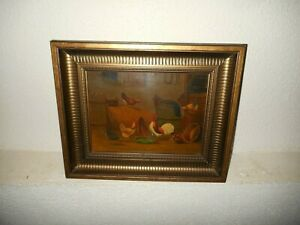 Antique oil painting, { Rooster with chickens in the barn, nice frame! }.