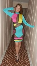 ULTRA SEXY Multi Color Mesh Cutout Blue Hot Pink Long Sleeve Mini Dress M 6 - 8
